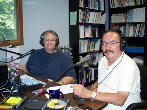 Charon Asetoyer interviewing Bobby Cournoyer, Chairman , Yankton Sioux Tribe  in the studio
